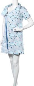 Niebieska sukienka Zergatik mini w stylu casual z krótkim rękawem