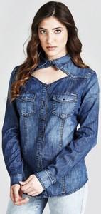 Niebieska koszula Guess z długim rękawem z bawełny