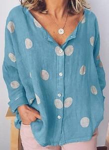 Niebieska koszula Cikelly w stylu casual z dekoltem w kształcie litery v