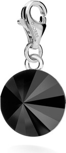 GIORRE SREBRNY CHARMS KRYSZTAŁ SWAROVSKI RIVOLI 12MM 925 : Kolor kryształu SWAROVSKI - Jet, Kolor pokrycia srebra - Pokrycie Jasnym Rodem