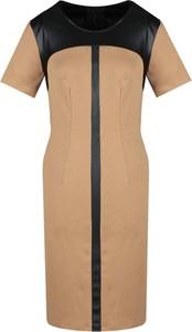 Sukienka Fokus dopasowana ze skóry z krótkim rękawem