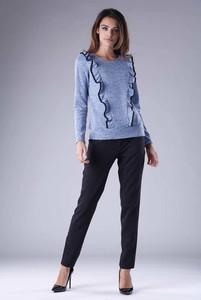 Niebieska bluzka Nommo z okrągłym dekoltem