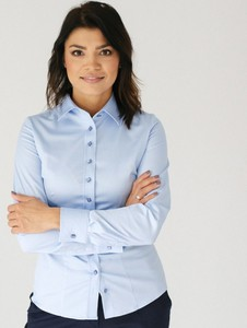 Niebieska bluzka Willsoor w stylu casual z golfem