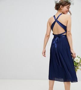 Granatowa sukienka Tfnc Petite na ramiączkach midi
