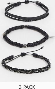 Icon Brand – Zestaw czarnych bransoletek z koralikami