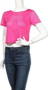 Różowa bluzka Girl Xpress z krótkim rękawem w stylu casual z okrągłym dekoltem