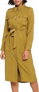 Zielona sukienka Only midi w stylu casual z kołnierzykiem