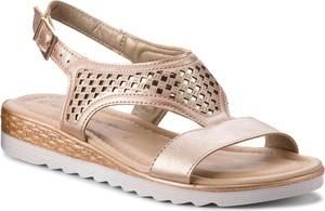 Brązowe sandały Tamaris ze skóry ekologicznej w stylu casual z klamrami