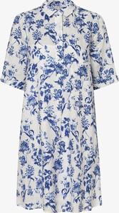 Sukienka Marie Lund koszulowa z lnu z kołnierzykiem