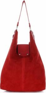 Torebki skórzane typu shopperbag firmy vittoria gotti czerwone