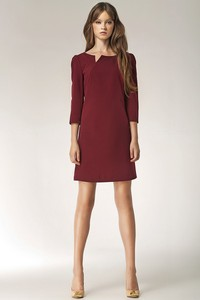 Czerwona sukienka Merg z długim rękawem