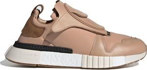 Brązowe buty sportowe Adidas na rzepy ze skóry