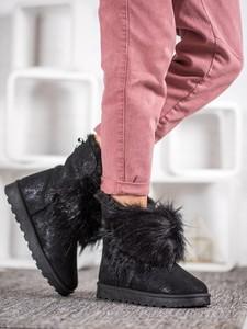 Czarne śniegowce Czasnabuty z płaską podeszwą