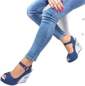 Niebieskie sandały HAVER ze skóry na platformie