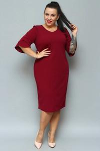 Sukienka KARKO ołówkowa z tkaniny z długim rękawem