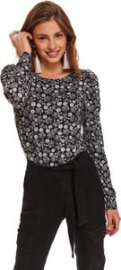 Czarna bluzka Top Secret z długim rękawem w stylu casual z okrągłym dekoltem