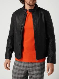 Czarna kurtka Tom Tailor ze skóry w stylu casual krótka