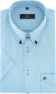 Miętowa koszula giacomo conti z tkaniny z krótkim rękawem