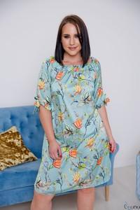 Niebieska sukienka tono.sklep.pl z długim rękawem