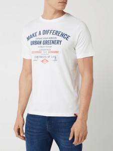 T-shirt Lerros z nadrukiem z bawełny z krótkim rękawem