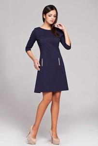 Sukienka Figl z krótkim rękawem ze skóry ekologicznej z okrągłym dekoltem