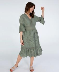 Sukienka Unisono w militarnym stylu z bawełny midi