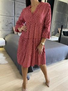 Czerwona sukienka ModnaKiecka.pl z długim rękawem oversize