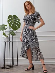 Czarna sukienka Smashed Lemon z krótkim rękawem z tkaniny z dekoltem w kształcie litery v