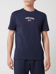 Granatowy t-shirt Tommy Jeans z krótkim rękawem z bawełny