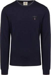 Granatowy sweter Aeronautica Militare w stylu casual