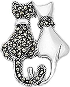 Braccatta LUV Srebrna broszka z markazytami koty zakochane