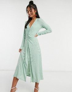 Zielona sukienka John Zack z dekoltem w kształcie litery v