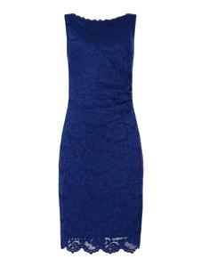 Niebieska sukienka Vera Mont bez rękawów z okrągłym dekoltem