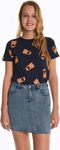T-shirt Gate z okrągłym dekoltem z bawełny w młodzieżowym stylu
