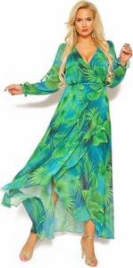 Zielona sukienka Sukienki M&M z długim rękawem