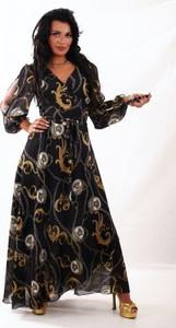 Sukienka Oscar Fashion maxi z dekoltem w kształcie litery v z szyfonu