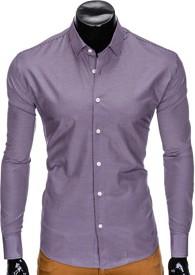 Fioletowa koszula Ombre Clothing z długim rękawem