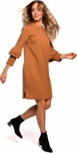 Sukienka MOE mini z długim rękawem z dresówki