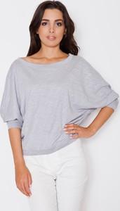 Niebieska bluzka Katrus z długim rękawem z bawełny
