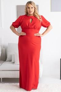 Czerwona sukienka KARKO z tkaniny maxi hiszpanka