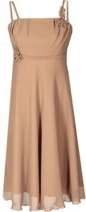 Brązowa sukienka Fokus rozkloszowana z szyfonu midi