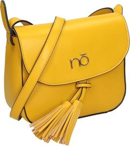 Żółta torebka NOBO w stylu boho z frędzlami na ramię