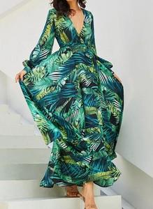 Zielona sukienka Sandbella w stylu boho z długim rękawem maxi