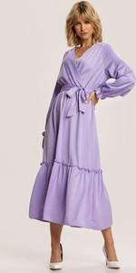 Fioletowa sukienka Renee midi z długim rękawem