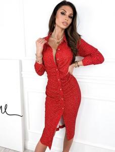 Czerwona sukienka Infinityfashion.pl koszulowa