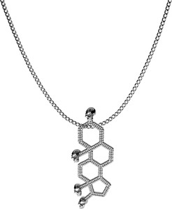 GIORRE SREBRNY NASZYJNIK TESTOSTERON, WZÓR CHEMICZNY 925 : Długość (cm) - 60, Kolor pokrycia srebra - Pokrycie Czarnym Rodem