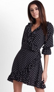 Granatowa sukienka Ivon mini z dekoltem w kształcie litery v w stylu casual