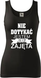 Czarny top TopKoszulki.pl z okrągłym dekoltem z bawełny