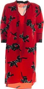 Czerwona sukienka Diane Von Furstenberg w stylu casual z długim rękawem