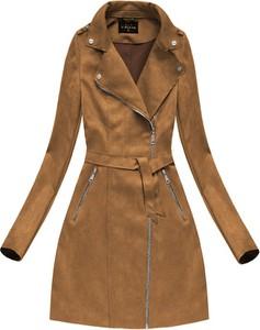 Brązowy płaszcz Libland ze skóry ekologicznej